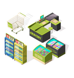 isometric constructions for supermarket or vector image