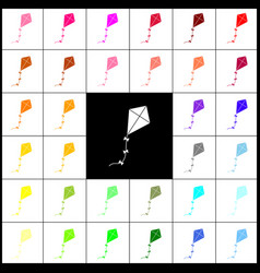 Kite sign felt-pen 33 colorful icons at vector