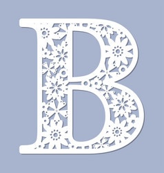 Laser cutting pattern letter b vector