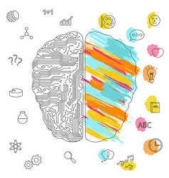 left and right brain functions concept left and vector image