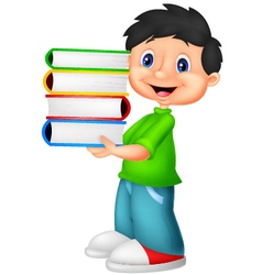 Little boy carrying a bunch of book vector image