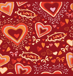 love cute heart seamless pattern vector image
