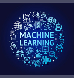 machine learning signs round design template thin vector image