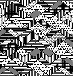 Monochrome geometric patchwork pattern vector