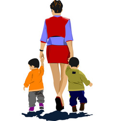 Mother walking with two children vector