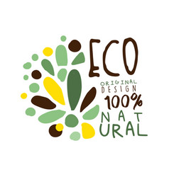 One hundred percent eco natural label original vector