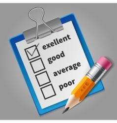 Orange pencil and blue checklist vector