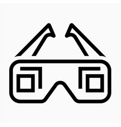 Outline 3d glasses film pixel perfect icon vector