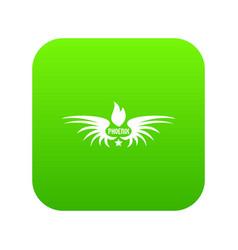 Phenix wing icon green vector