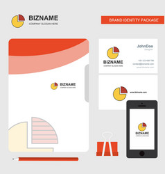 pie chart business logo file cover visiting card vector image