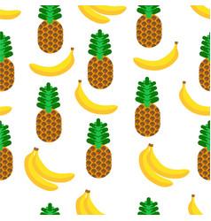 pineapple and banana tasty tropical fruits vector image