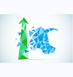 polygonal bull symbol with green arrow stock vector image