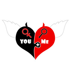 puzzle pieces heart with angel wings devil horns vector image