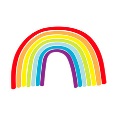 Rainbow icon on white background colorful line vector