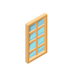 rectangular wooden window with blue glass 3d vector image