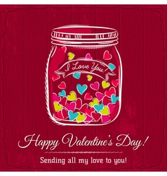 red valentine card with jar filled with heart vector image