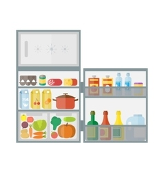 Refrigerator with food icons vector