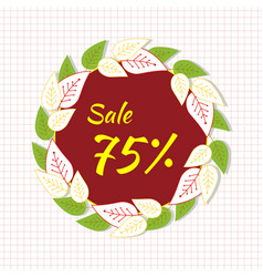 Round frame with the text sale 75 percent a vector