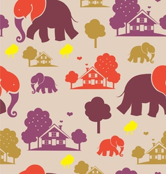 seamless elephant village vector image