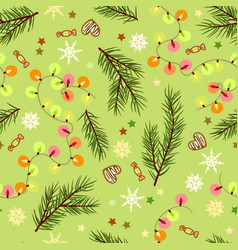 Seamless festive christmas pattern with branches vector
