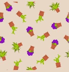 seamless pattern with indoor house plants and vector image