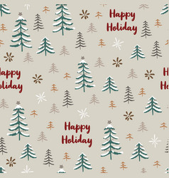 Seamless pattern with winter forest happy holiday vector