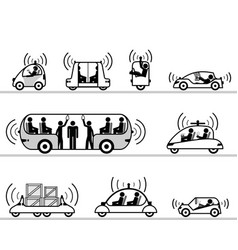 self-driving cars pictogram collection vector image