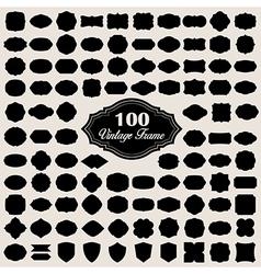 set 100 blank vintage frame badges and labels vector image