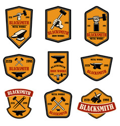 set blacksmith and iron works emblems design vector image