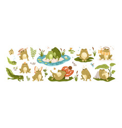 Set happy frogs funny toads and cute tadpoles vector