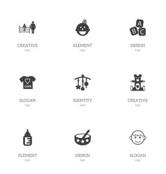 Set of 9 editable infant icons includes symbols vector