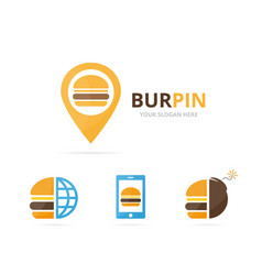 Set of burger logo combination hamburger and gps vector