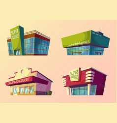 Set of cartoon buildings of modern vector