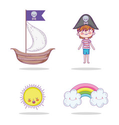 set ship with pirate boy and sun with rainbow vector image