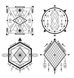 Set transmutation circles alchemical symbol vector