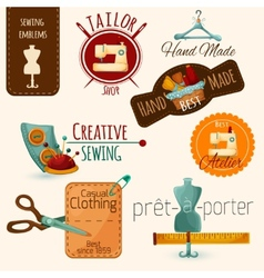 Sewing emblems set vector