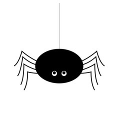 simple of a black spider hanging by a thread vector image