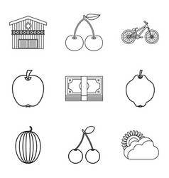 small fruit icons set outline style vector image
