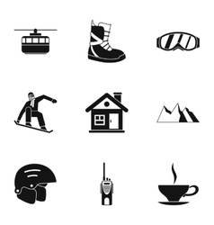 Snowboarding icons set simple style vector