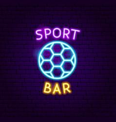 sport bar ball neon label vector image