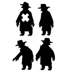 Spy marked silhouette set vector