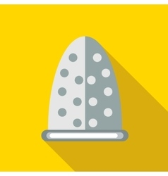 Steel thimble icon in flat style vector
