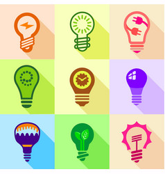 Stylized light bulb icons set flat style vector