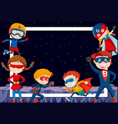 Superheroes in outer space vector