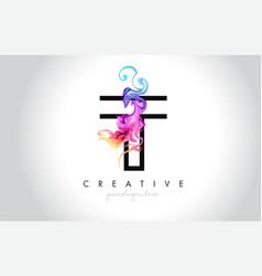 t vibrant creative leter logo design vector image