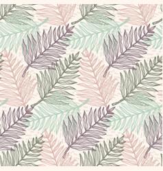 tender colors tropical fern leaves pattern vector image