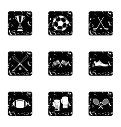 Training icons set grunge style vector