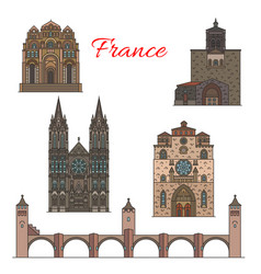 Travel landmarks of france famous tourist sights vector