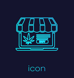 turquoise line laptop and medical marijuana or vector image