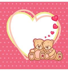 Valentine teddy bears frame vector